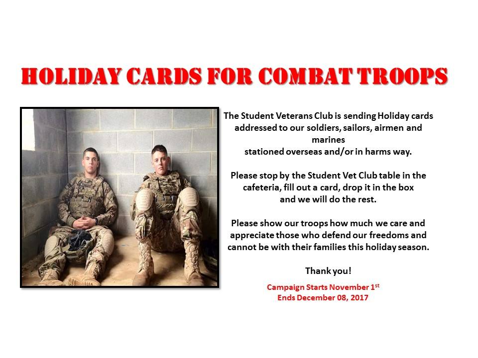 Holiday Cards for combat troops flyer