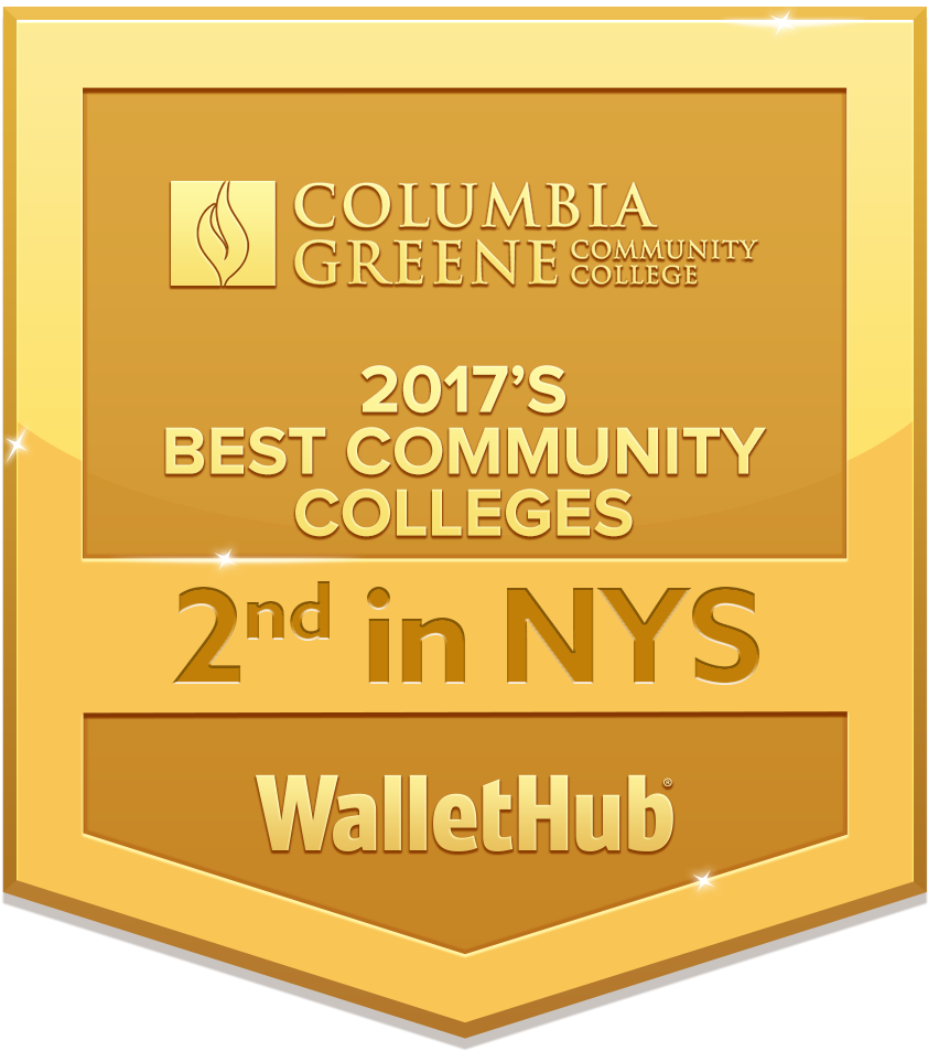 WalletHub badge in recognition of C-GCC's 2nd best community college in New York State