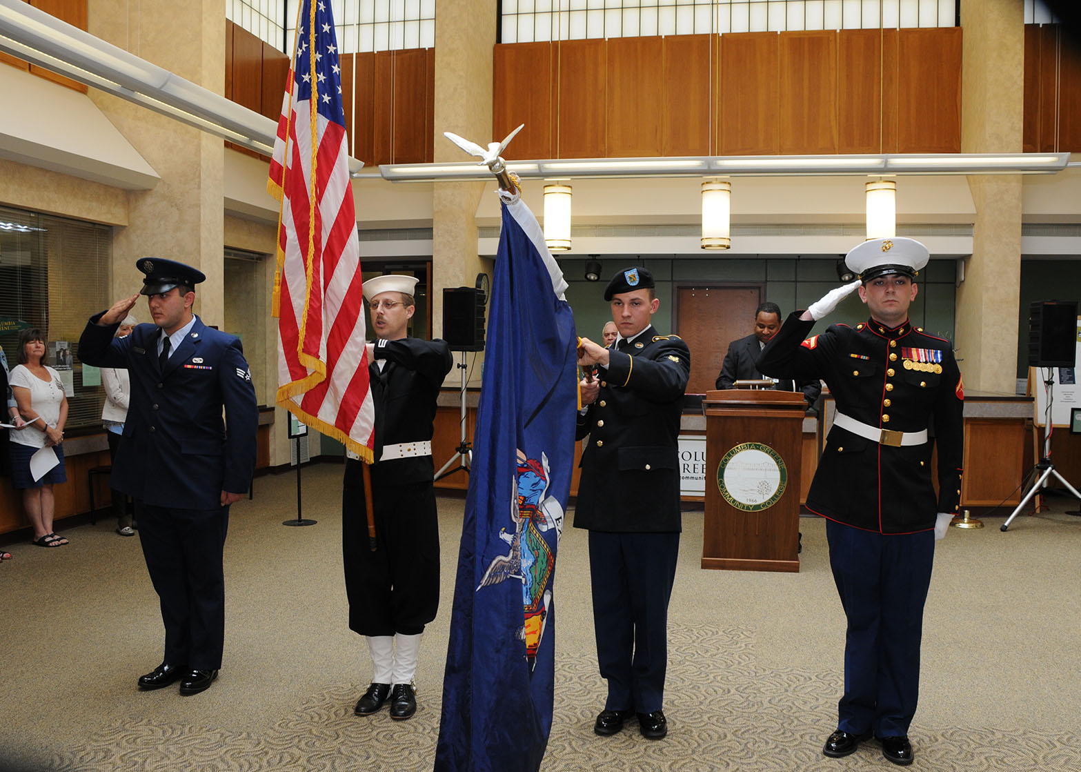 Military color guard on campus