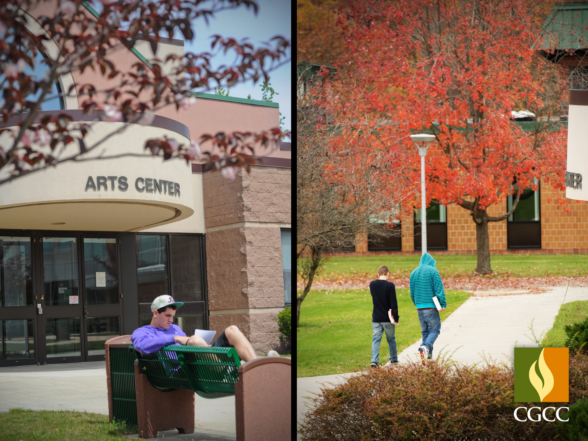 two images of students outside on campus
