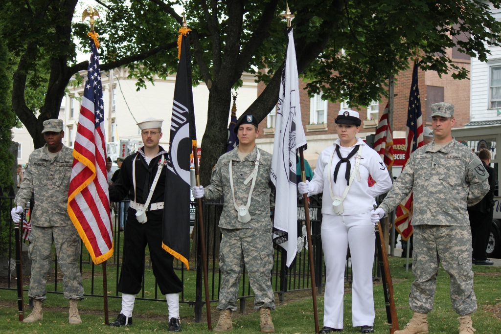 Military Honor Guard outside for Veterans Day observance