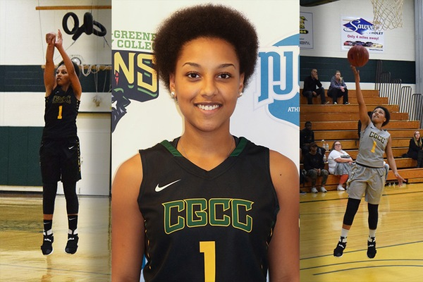 Three photos of basketball player Tanisha Edge in collage