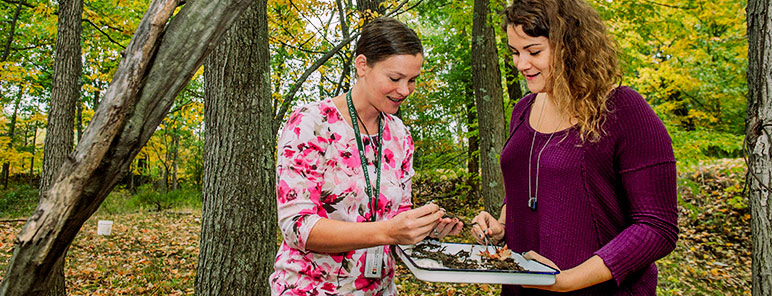 Students outdoors studying leaves and trees