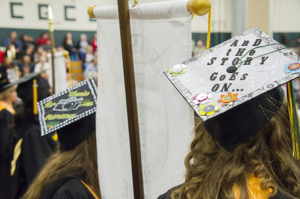 Decorated Caps at graduation