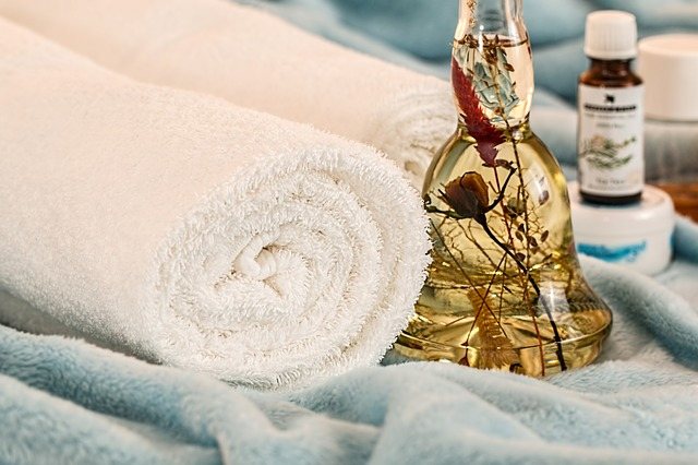oil in bottle with towel