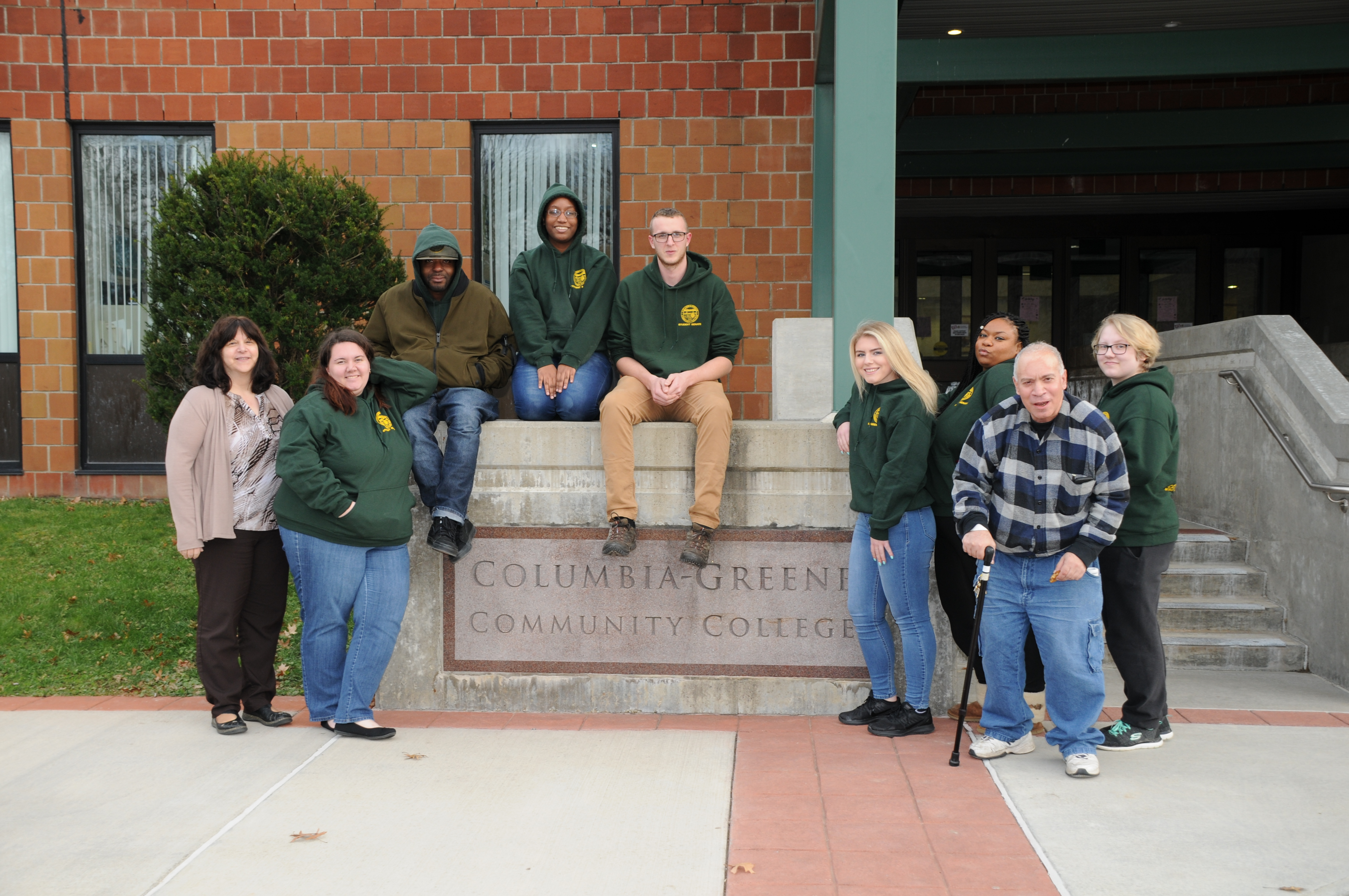Student Senate poses outside of campus