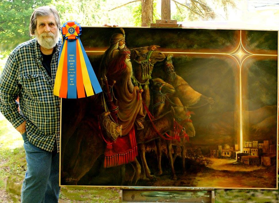 Painter stands by large oil painting