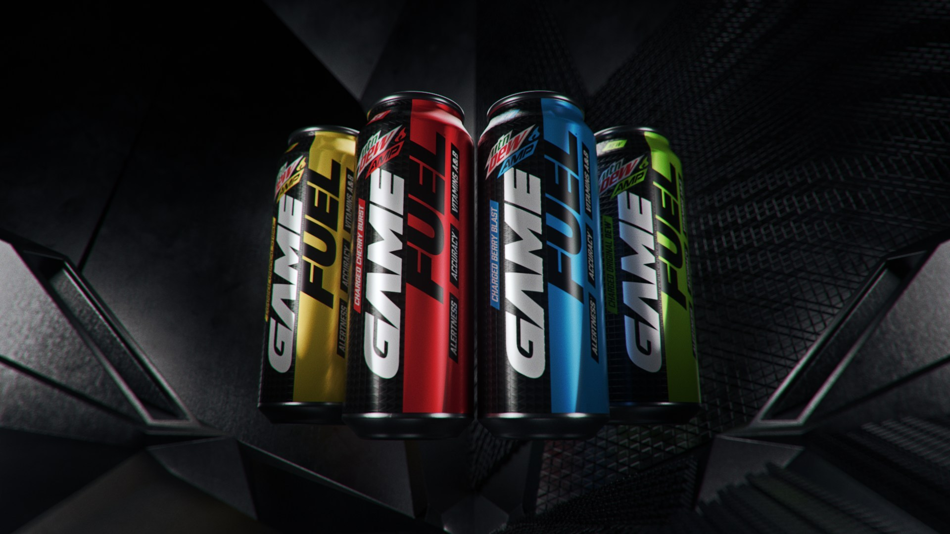 Array of Mountain Dew Game Fuel cans