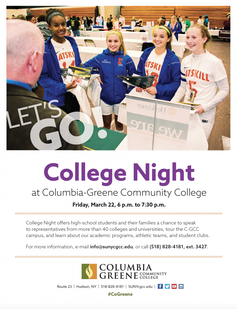 college night flyer with four high school students in soccer uniforms