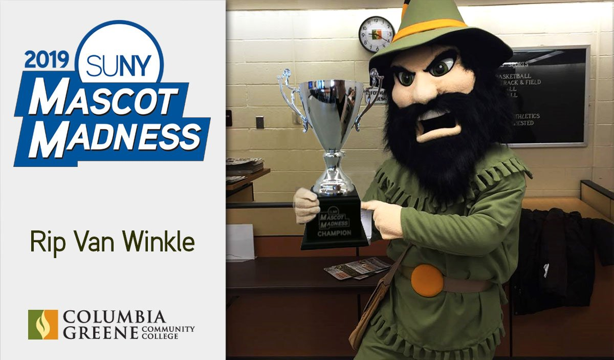 Rip van winkle mascot with trophy