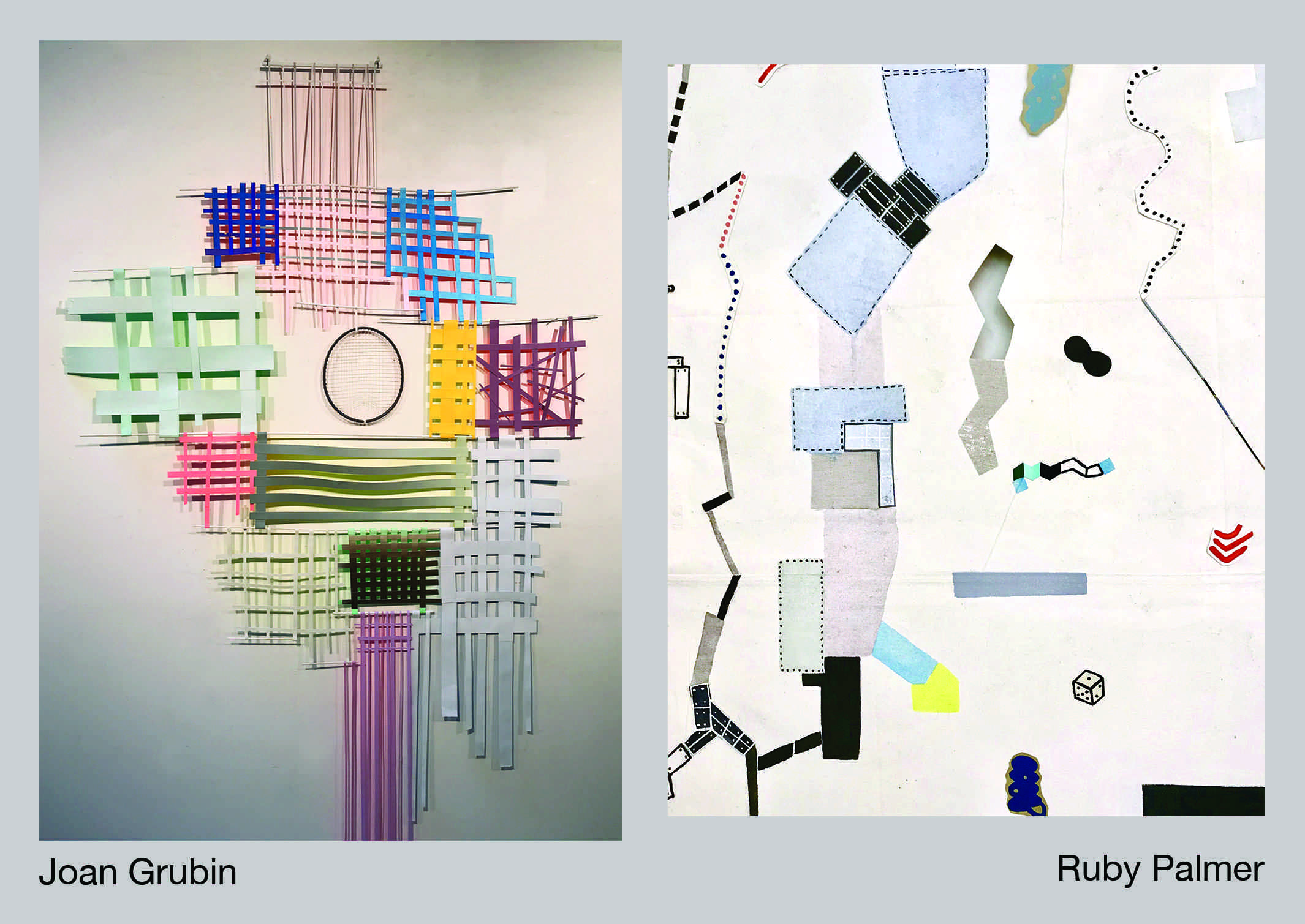 two pieces of artwork side-by-side by joan grubin and ruby palmer
