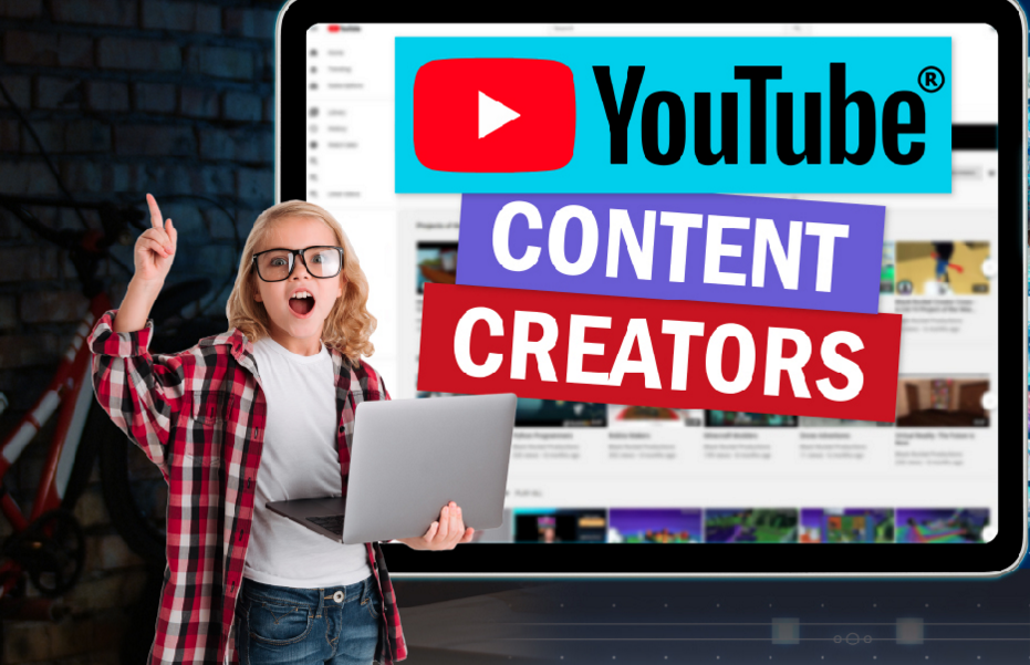 girl in plaid shirt holding laptop standing in fron of youtube content creator sign