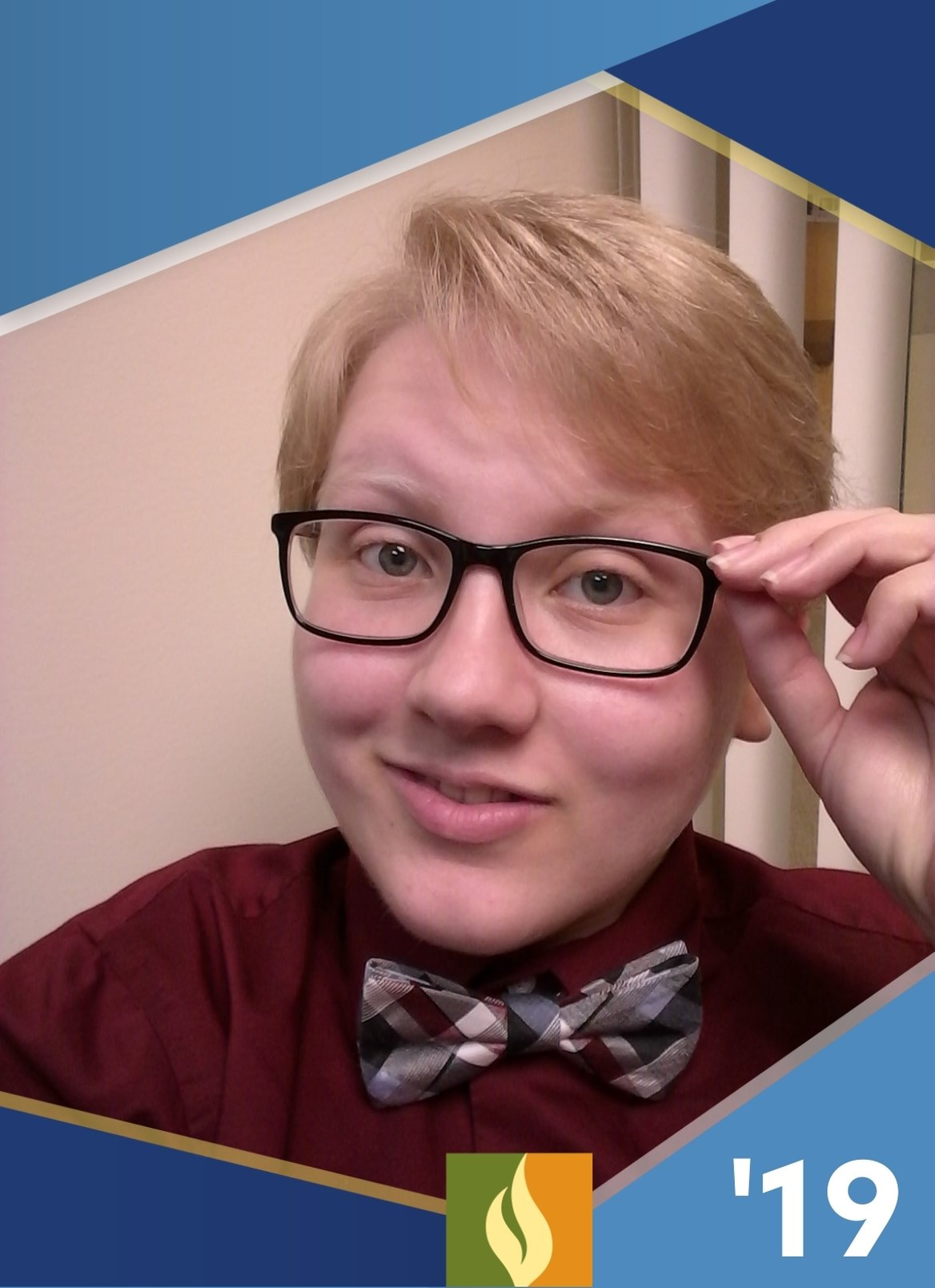 headshot of blonde person with black rimmed glasses and a bow tie