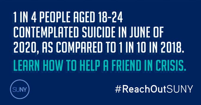 text: 1 in 4 people ages 18-24 contemplated suicide in june 2020, compared to 1 in 10 in 2018. Learn how to help a friend in crisis.